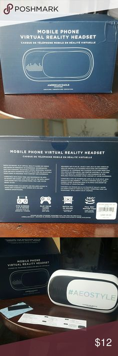 American Eagle Mobile Phone VR headset American Eagle mobile phone virtual reality headset watch 3D movies and virtual games.  Details pictured along with everything that comes with it. Used once. Great condition and fun but not my thing.  Make an offer! American Eagle Outfitters Accessories