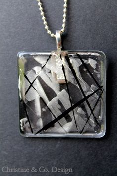Black and Silver Design on a Square Glass Pendant/ Handbag Charm