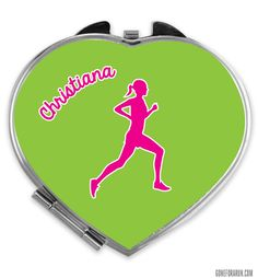 Our Personalized Running Girl Heart Shaped Color Compact Mirror is a great gift for any runner in your life!