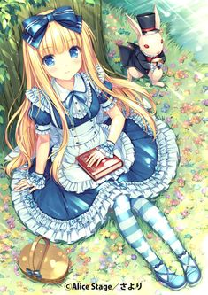 This is a pretty cute anime wallpaper. It focuses on Alice in Wonderland. She is sitting next to the white rabbit. It was made by the anime artist named Sayori. Anime Chibi, Manga Anime, Film Anime, Fanarts Anime, Manga Girl, Anime Characters, Kawaii Anime Girl, Anime Girls, Cartoon Cartoon