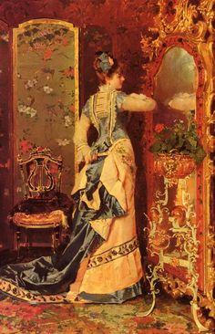 Woman Before a Mirror by Luis Alvarez Catala, 1878
