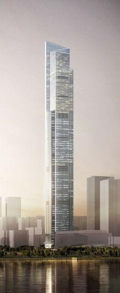 The Chow Tai Fook Centre (CTF) or Guangzhou East Tower, Guangzhou, China by Kohn Pedersen Fox Associates Architects :: 111 floors, height 530m