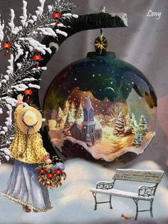 Joyeux Noel Couds ceci Brode cela Source by d Christmas Scenes, Christmas Balls, Christmas Art, Christmas Greetings, Winter Christmas, Christmas Decorations, Vintage Christmas Images, Christmas Pictures, Theme Noel