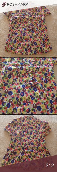 Ann Taylor Loft top This Ann Taylor top is really cute size small 100% cotton super colorful for spring and summer very lightweight and perfect for traveling add a pop of color and flowers to your summer and spring Ann Taylor Tops Blouses