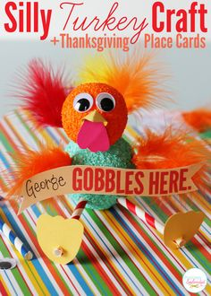 Adorable turkey craft and Thanksgiving place cards from @Amy Bell {Positively Splendid}! #turkeytablescapes