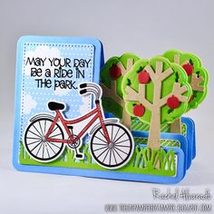 A fun Step-Up card using the new Sizzix Trees Step-ups Card Die Set by Stephanie Barnard and paired with the Stamp Set from The Stamps of Life. Fun Fold Cards, Pop Up Cards, Folded Cards, Center Step Cards, Side Step Card, Mother Card, Bicycle Cards, Girl Birthday Cards, Cards For Friends