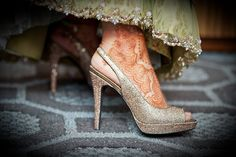 glitz and glam gold bridal shoes