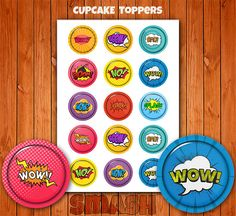15 Comic Smash Cupcake Toppers, Birthday Toppers, Kids Decor, Stickers, Digital Download.