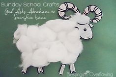This cotton ball ram craft is a simple way to help children understand the story of Abraham and Isaac from The Jesus Storybook Bible.