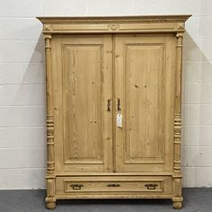 A Small Double Antique Pine Wardrobe With Bottom Drawer (Dismantles) (F7900E) Antique Pine Furniture, Pine Wardrobe, Hanging Rail, Cupboard Storage, Stairways, Warehouse, Drawers, Antiques, Wood