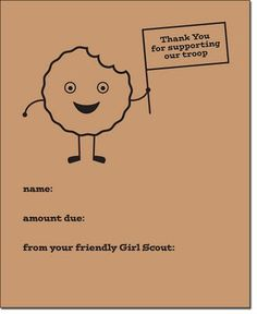 Cute Girl Scout cookie sale thank you note pdf
