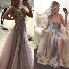 Beading prom dress, long prom dress, v neck prom dress, grey prom dress, sexy prom dress, gorgeous prom dress, side split prom dress, PD15443