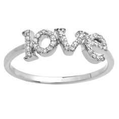 "Elora 10k Gold Round White Diamond ""Love"" Promise Ring (I-J, I2-I1) (Size 6.5, White Gold), Women's"