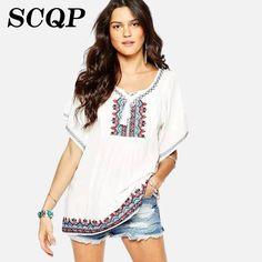 1a16c9d29a Bordado Jacquard senhoras branco camisas tamanho grande verão novo Batwing  manga O pescoço longo das mulheres