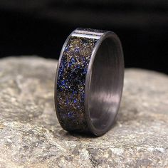 Blue Twilight Gibeon Meteorite Shavings Inlay by HolzRingShop Tyler favorite