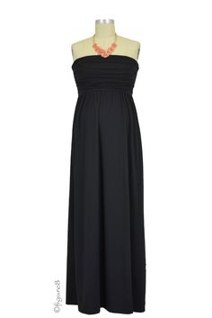 The MW Ruched Tube Maxi Nursing Dress in Black. Please use coupon code NewProducts to receive 15% off these items. To receive the discount, please place your order by midnight Monday, May 11, 2015