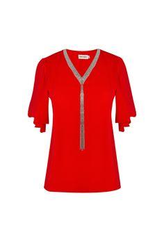 Blusa roja con cuello plateado TERIA YABAR Colección otoño invierno 2019 2020 Tunic Tops, Women, Fall Winter, Blouse, Shirts, Woman
