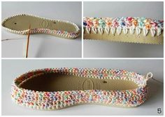 Crochet slippers from a pair of flip flops!