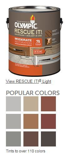 Olympic RESCUE IT! Moderate Resurfacer + Sealant in One is for worn or weathered wood and concrete. With the proper preparation, this 100% acrylic coating fills wood and concrete cracks up to ¼″ and locks down splinters. Don't replace it. RESCUE IT! WHY YOU'LL LOVE THIS PRODUCT - Covers up to 75 sq. ft. in 2 coats per gallon - Locks down splinters and fills cracks up to ¼″ - Creates a barefoot friendly, finely textured, slip-resistant finish - Provides waterproofing protection