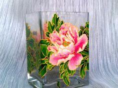 Peonies Vase Glass vase Square vase Hand painted Painted vase