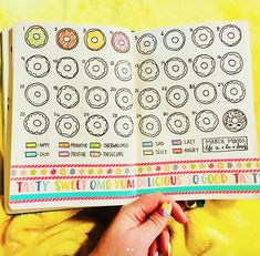 Bujo mood tracker featuring donuts! More bullet journal mood tracker ideas, too!