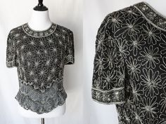 Vintage PAPELL BOUTIQUE Silver Sequined Blouse with Floral Design | Size Large