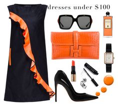 """""""Under $100: Summer Dresses"""" by anna-gabedava ❤ liked on Polyvore featuring Lattori, Chanel, Hermès, Bobbi Brown Cosmetics, Gucci, Serge Lutens, Alexander McQueen, Topshop, black and orange"""