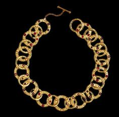 JEWELRY REPRODUCTION  Cypricot Multi-Link Necklace, 22k matte gold overlay with glass cabochons, Dimensions: nner circumference 15 1/2 in, Item No. J238, Metropolitan Museum of Art, New York, Period: Greek Age (7th-4th century B.C.)