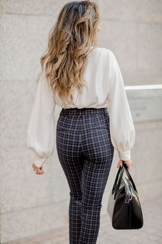 579724dd063 plaid high rise pants with a white blouse. Visit Daily Dress Me at  dailydressme.
