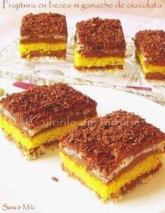 Prajitura cu bezea si ganache de ciocolata un desert savuros cu bezea si ciocolata. Romanian Food, Recipies, Cookies, Ethnic Recipes, Desserts, Gypsy, Passion, Drink, Sweets
