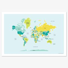 World Map (blues and greens). $30.00, via Etsy.