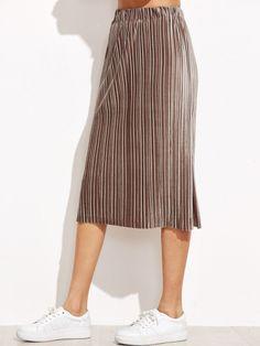 Khaki Slit Side Pleated Velvet Skirt