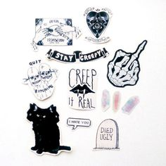 Spooky Sticker Set Gothic Witchy Grunge by kissyheart on Etsy