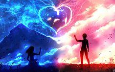 I'm Always with You Anime Original Love Original (Anime) Girl Boy Heart Wallpaper Love Wallpaper Backgrounds, Cute Galaxy Wallpaper, Cute Couple Wallpaper, Anime Scenery Wallpaper, Pretty Wallpapers, Heart Wallpaper, Wallpaper Desktop, Elfen Fantasy, Fantasy Art