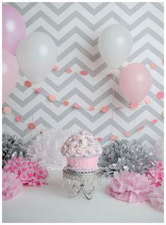 Pink and Gray Cake Smash - Virginia Beach 1st Birthday Baby Photographer