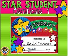 Star Student Certificate Blank Certificate Template, Certificate Design, Education Certificate, Award Certificates, Star Reading, Star Of The Week, Star Template, Star Students, Home