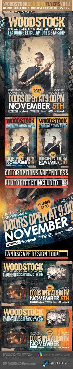 Awesome Concert flyers to promote your concert or club events. The flyer looks stunning and sure to arouse interest to your events or concerts. The flyer is completely editable making it easy for you to customize to suit your events needs. Present your flyers