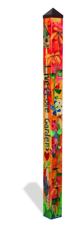 Wildly Popular new item designed by Stephanie Burgess for Painted Peace.  This is a 6' Peace Pole made in the USA!   -Long-lasting and maintenance free. -Made of strong, lightweight PVC to reduce shipping costs. -Laminated for fade-resistance and added durability. -Easy to install. No digging...