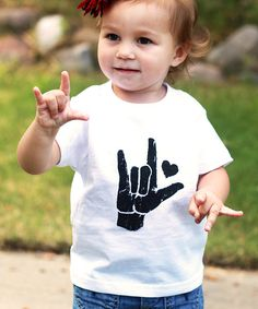 Take a look at the Little Treetops White I Love You Sign Tee - Toddler & Kids on #zulily today!