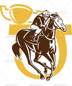 Jockey Riding Horse Racing With Champion Trophy #GraphicRiver Illustration of horse racing jockey racing with horseshoe and champion cup in the background done in retro woodcut style. Created: 1December11 GraphicsFilesIncluded: JPGImage #VectorEPS Layered: Yes MinimumAdobeCSVersion: CS Tags: artwork #championshipcup #cup #horse #horserace #horseshoe #illustration #jockey #racing #retro #sport #thoroughbred #trophy #woodcut