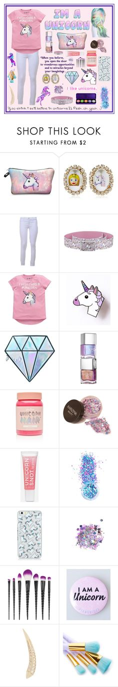 """Unicorn!!"" by ddupas ❤ liked on Polyvore featuring Bijoux de Famille, 7 For All Mankind, Emoji, Unicorn Lashes, Lime Crime, In Your Dreams, The Gypsy Shrine, My Makeup Brush Set and Carbon & Hyde"