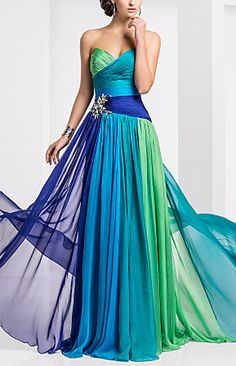 Sweetheart Floor-length Chiffon Ombre Evening/Prom Dress
