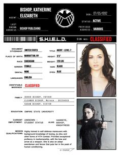 S.H.I.E.L.D. Personnel Files: Kate Bishop/Hawkeye (requested forkatehawkeye)
