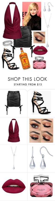"""""""This Party is a Waste of This Outfit"""" by danni-foley ❤ liked on Polyvore featuring Versus, Boohoo, BERRICLE, Huda Beauty and Gucci"""