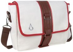 Assassins Creed Canvas Messenger Bag – This premium bag is designed as a Canvas Pouch in white, red and brown. The Messenger Bag has an interior divider to store a laptop safely. It has additional pockets inside as well as pencil holders. The length of the long strap can be adjusted.