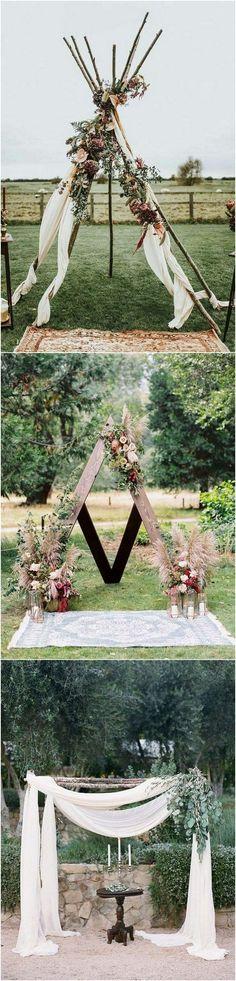 #weddingarches #weddingdecor #weddingideas #weddinginspiration #bohoweddings bohemian style wedding arch decoration ideas #weddingdecoration