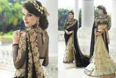 Net concept saree with black n white combo