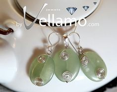Earrings and pendant with green onyx oval gemstones by byVellamo, $24.00