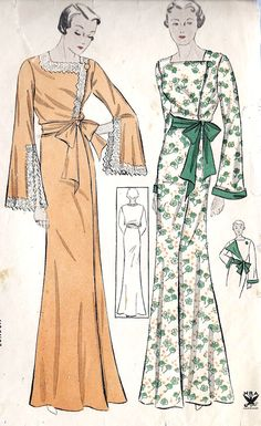 "1930s Misses Negligee Vintage Sewing Pattern, Simplicity 1470 Bust 32"" hips 35"". $38.00, via Etsy."
