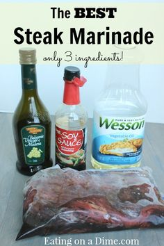 This recipe is by far the BEST steak marinade and it is so easy to make. You will be amazed by how flavorful your steaks will be. http://eatingonadime.com/best-steak-marinade-3-ingredients/